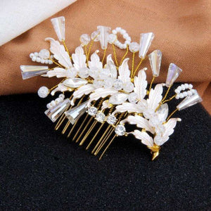 Leaves Bridal Hair Piece Decorated with Crystal and Pearl