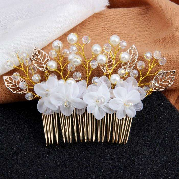 Boho Leaf Flowers Bridal Headpiece with Pearls Crystals