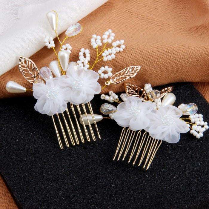 Bride Hair Comb Flowers Wedding Hair Clips ( 2pcs )