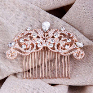 Wedding Vines Bridal Hair Comb Rose Gold Art Deco
