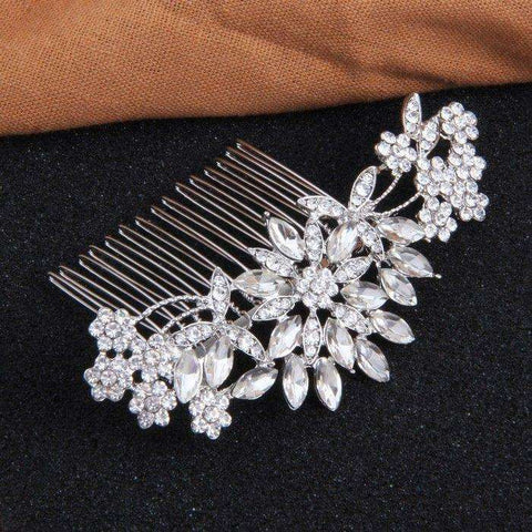 Silver Crystal Decorative Bridal Combs Floral