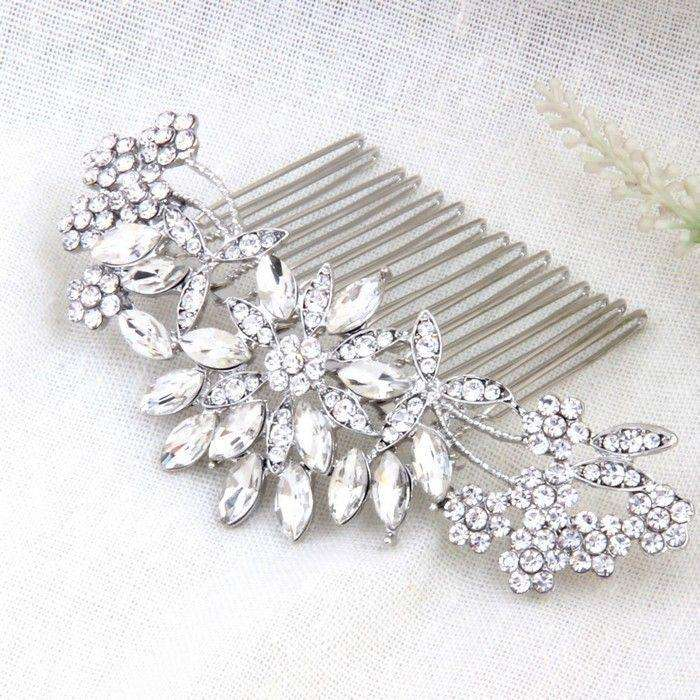 "Vintage Silver Crystal Bridal Hair Comb for Bride - ""Christine"""