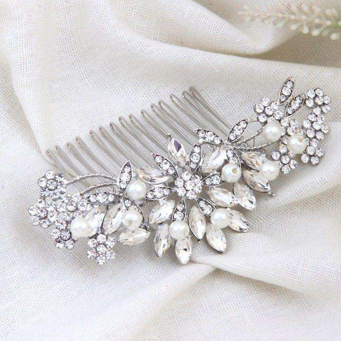 "Vintage Pearl Crystal Hair Comb Bridal Hair Jewelry Silver - ""Sarah"""