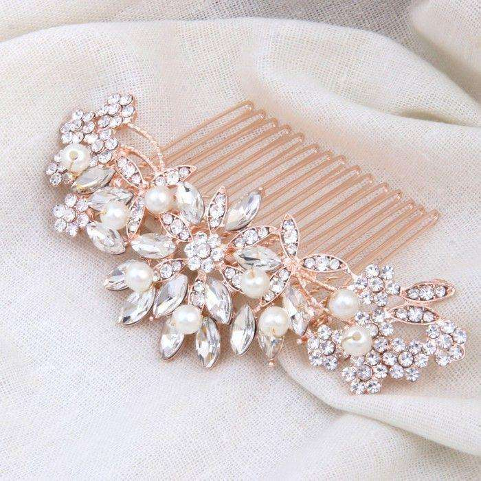 Bridal Hair Comb Rose Gold for Wedding Pearl Crystal