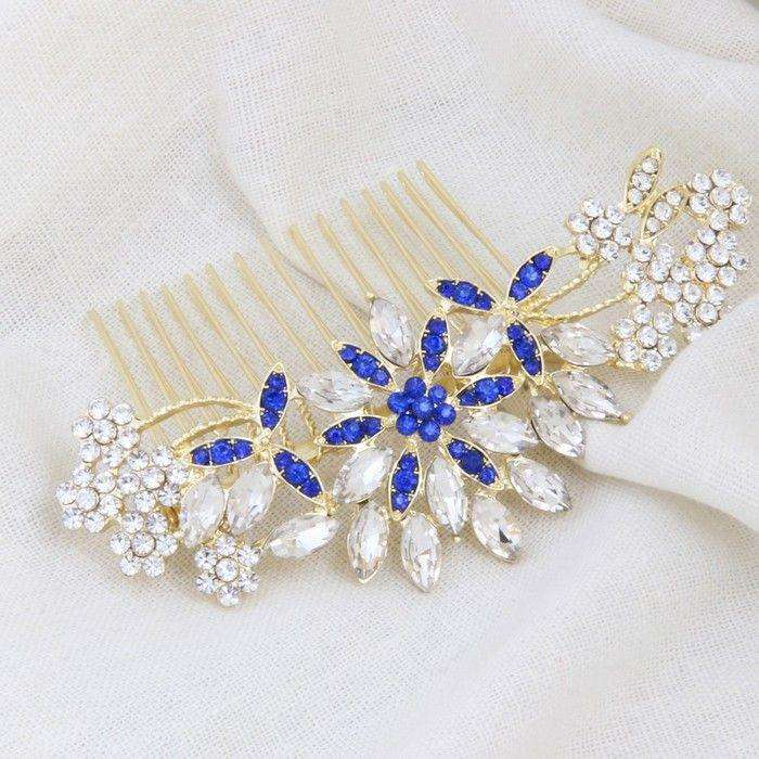 Crystal Wedding Hair Comb Blue Stamen Flower