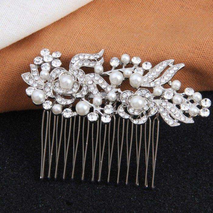 Vintage Bridal Flower Hair Comb Pearl