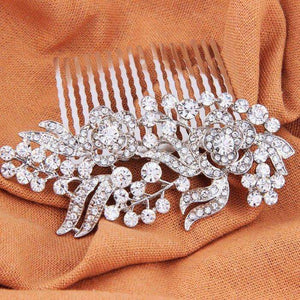 Crystal Bridal Hair Comb Rose Flower Silver
