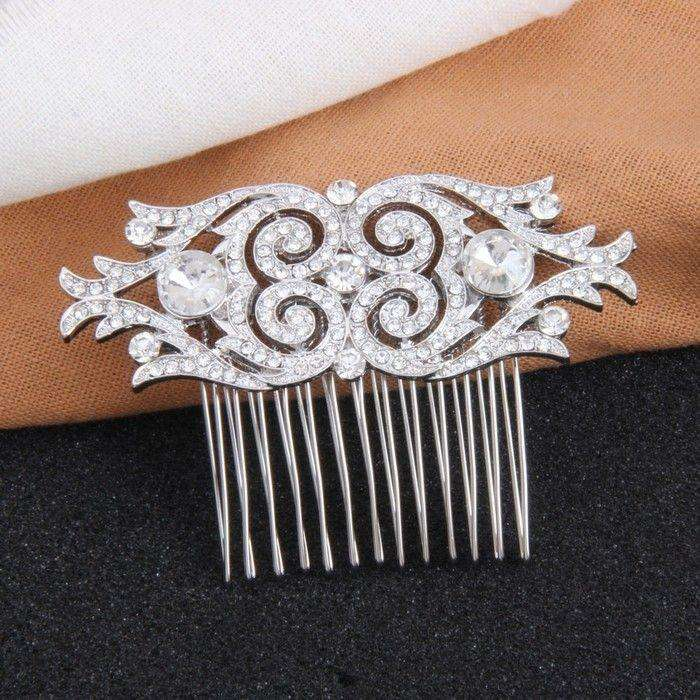 Vintage Silver Wedding Comb Crystal Art Deco