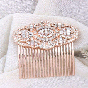 Rose Gold Hair Comb Bridal Jewelry Bridesmaids