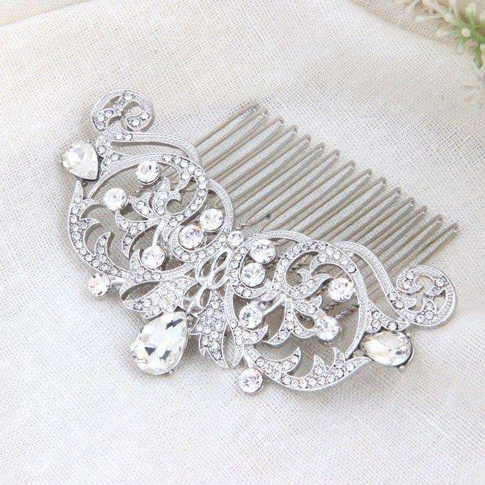 Bridal Silver Crystal Hair Side Comb Accessories