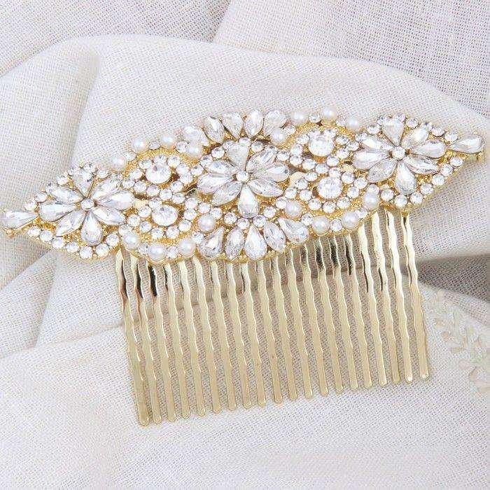 Gold Bridal Hair Comb Vintage Art Deco Headpiece