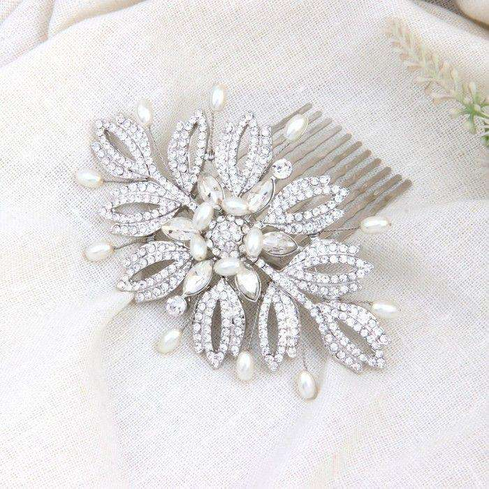 Handmade Boho Wedding Hair Accessories Bridal Comb Pearl