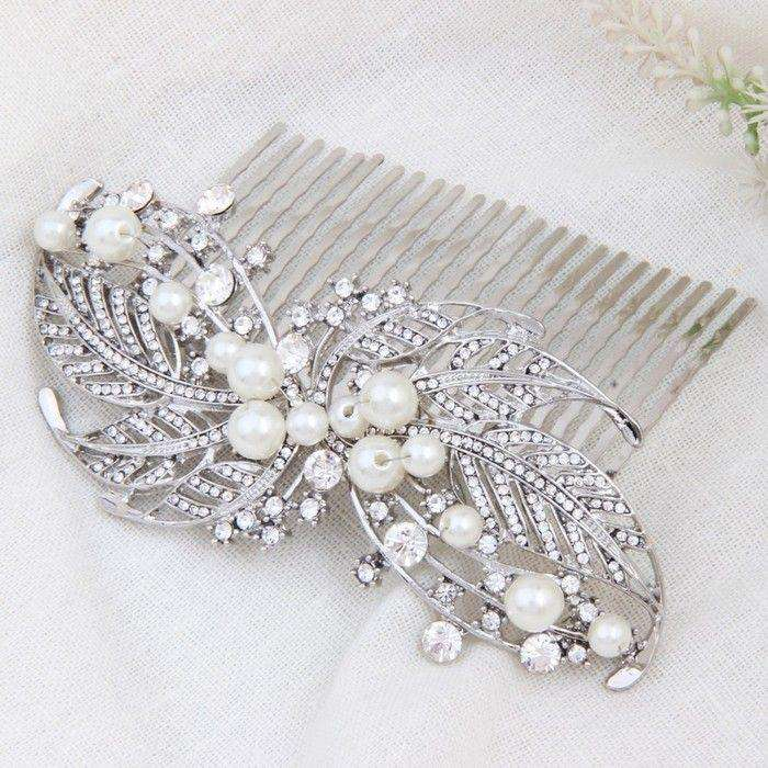 Leaf Ivory Pearl Bridal Hair Accessories Comb Silver