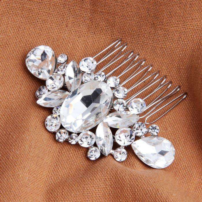 Crystal Wedding Hair Clip Bridal Combs Silver