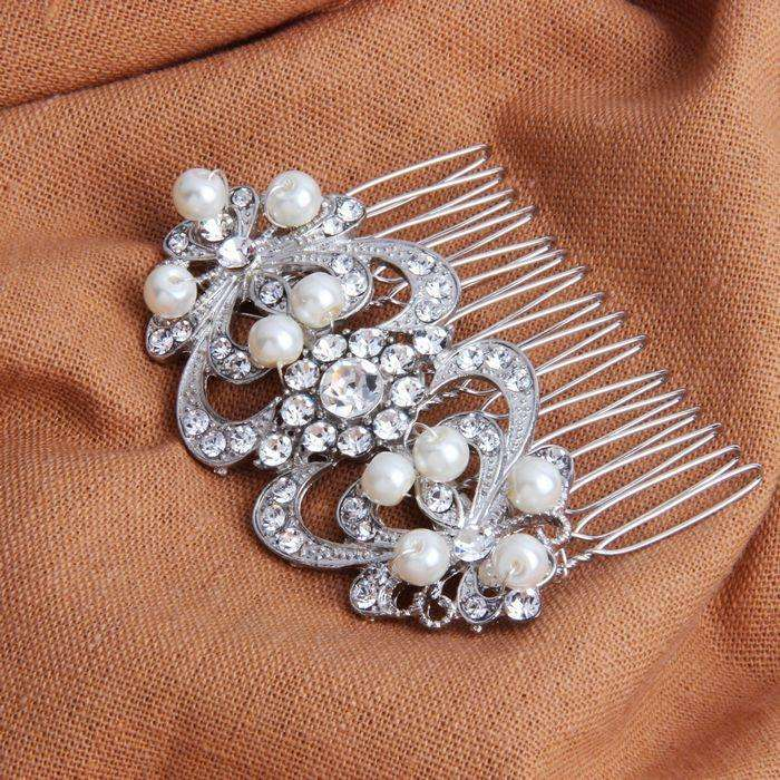 Bridal Hair Comb Pearl Hairpiece For Brides