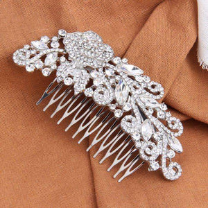 Crystal Flower Bridal Hair Accessories Wide Comb