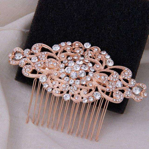 Rose Gold Wedding Hair Comb Rhinestone Art Deco