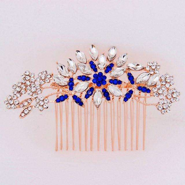 "Crystal Hair Comb Rose Gold Blue Petal - ""Kayla"""