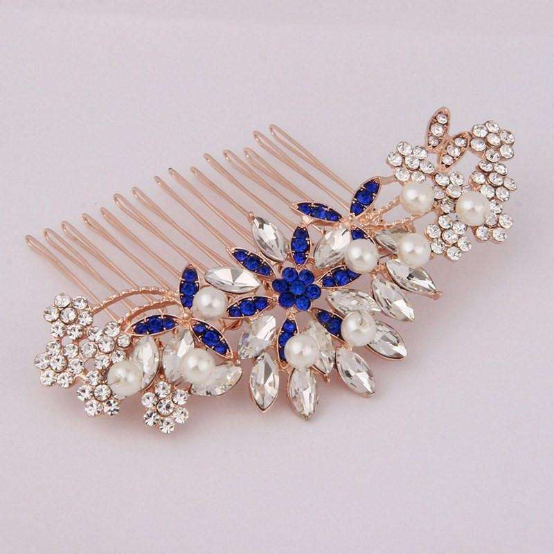 Flower Bridal Hair Comb Rose Gold Bridesmaid Jewelry