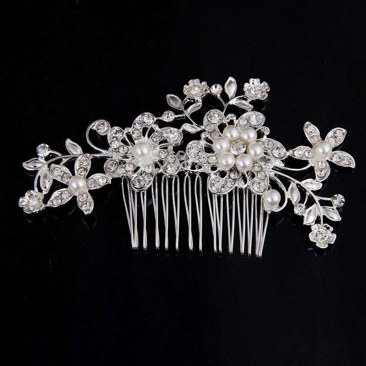 Women Floral Bridal Hair Combs Pearls