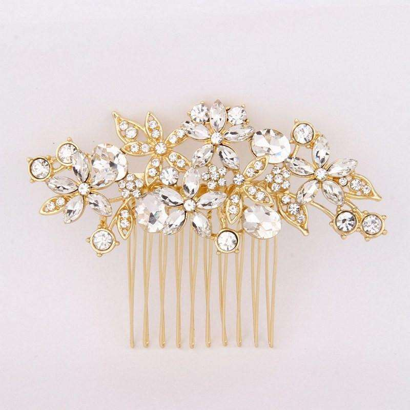 "Gold Crystal Wedding Bridal Decorative Hair Comb - ""Anne"""