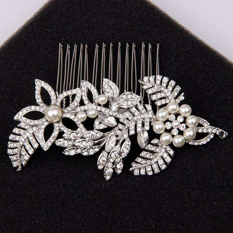 Floral Wedding Bridal Hair Combs Leaf Pearl and Crystal