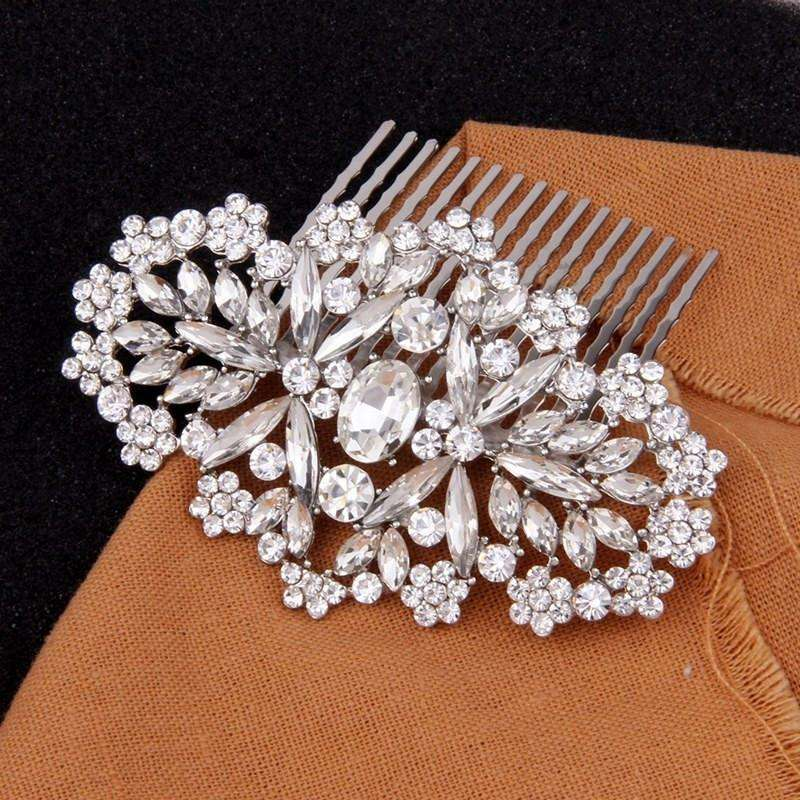 Clear Crystal Wedding Hair Comb Bridal Headpiece Art Deco