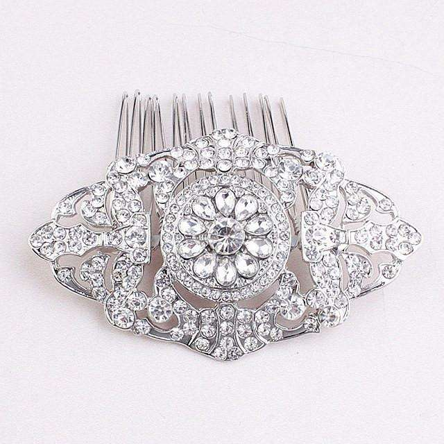 Vintage Crystal Art Deco Bridal Wedding Hair Comb Silver