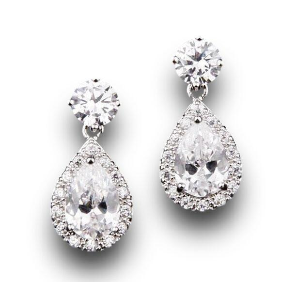 CZ Teardrop Bridal Wedding Earrings