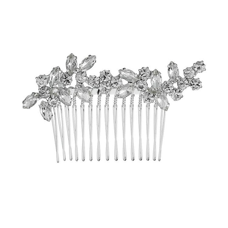 The bridal comb is made to order.Unique hair updo for bride wedding show.