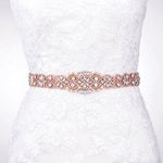 "Crystal Rose Gold Bridal Dress Belt Skinny Sash - ""Courtney"""