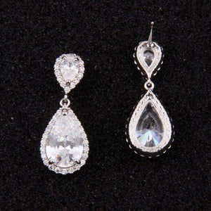 Cubic Zirconia Halo Teardrop Bridal Earrings