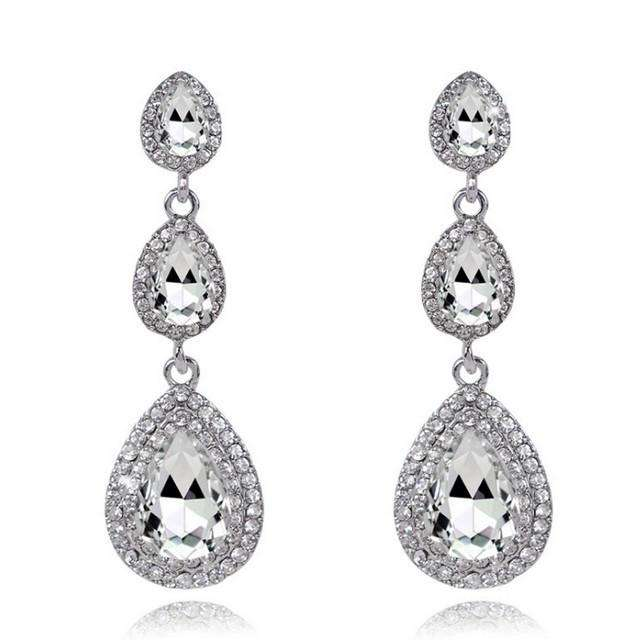 Crystal Teardrop Dangle Bridal Jewelry Earrings Silver