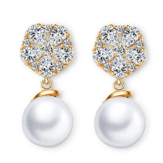 Bridal Pearl Drop Earrings Floral Cubic Zirconia