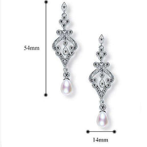 Vintage Pearl Bridal Earrings Crystal Wedding Long