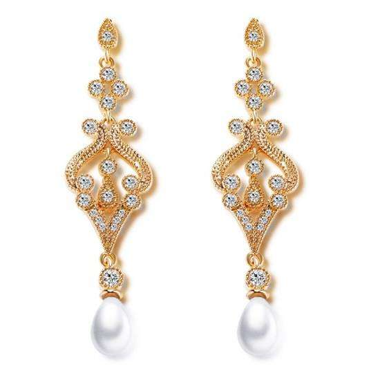 Gold Women Slim Earrings With Pearl Cubic Zirconia
