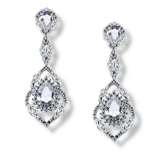 Luxury Dangle CZ Statement Wedding Bridal Earrings