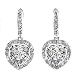 Heart Shape Bridal Cz Earrings Bridesmaid Jewelry Gift