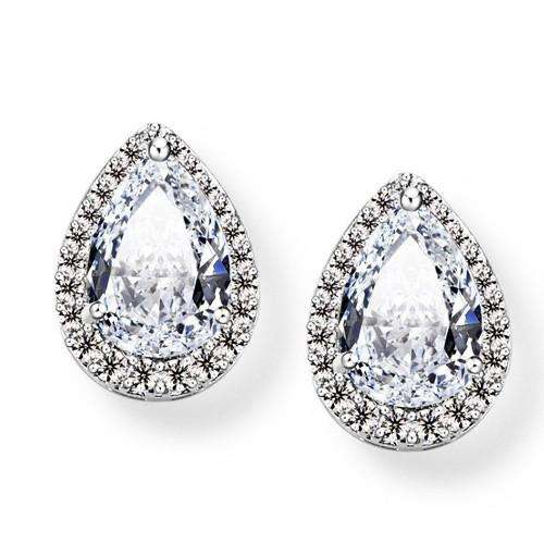 Simple Teardrop Cubic Zirconia Bridal Studs Earrings