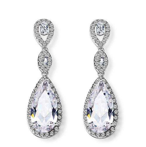 Wedding Slim Tear Drop Bridal Cubic Zirconia Earrings