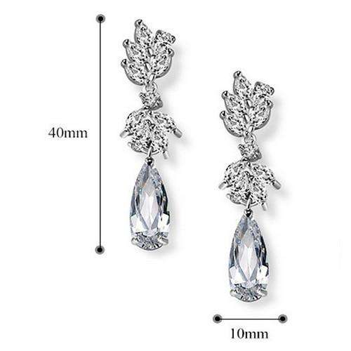 Silver Wedding Bridal Jewelry Teardrop Cubic Zirconia
