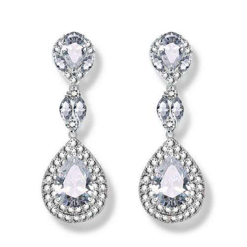 CZ Teardrop Bridal Earrings Silver Bridesmaid Jewelry