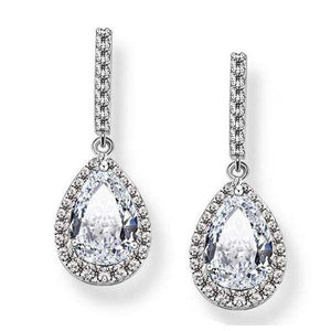 Bridal Cubic Zirconia Teardrop Dangle Earrings