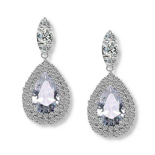 Silver Wedding Jewelry Bridal Cz Earrings Teardrop