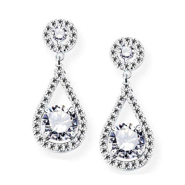 Bridal Earrings Pear CZ Teardrop Silver Wedding Studs