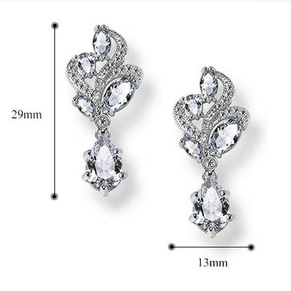 Cubic Zirconia Leaf Filigree Bridal Earrings Teardrop