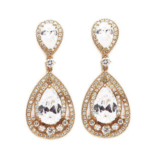 Gold CZ Teardrop Bridal Earrings Wedding Jewelry