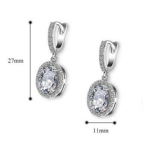 Oval CZ Bridal Earrings Cubic Zirconia Silver Jewelry