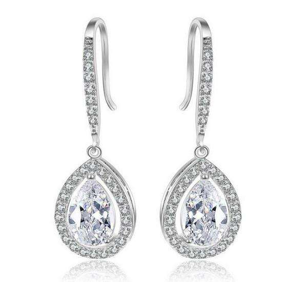 Women Cubic Zircona Teardrop Bridal Earrings Silver