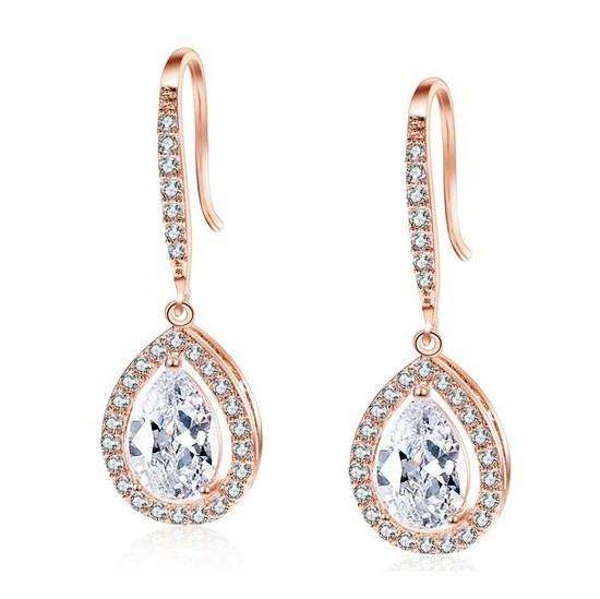 Fashion Cubic Zirconia Teardrop Bridal Earrings for Women
